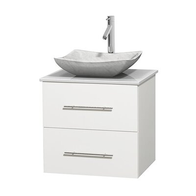 Centra 24 Single Bathroom Vanity Set Basin Finish: Avalon White Carrera, Base Finish: Matte White