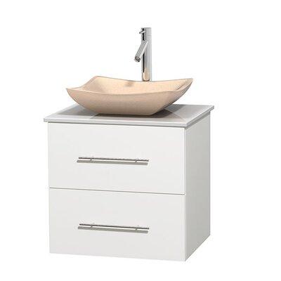 Centra 24 Single Bathroom Vanity Set Base Finish: Matte White, Basin Finish: Avalon Ivory