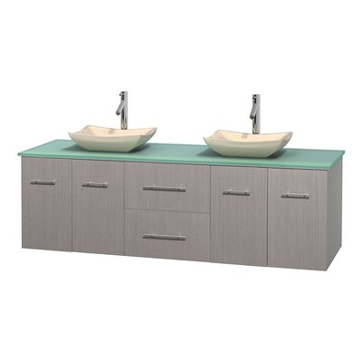 Centra 72 Double Bathroom Vanity Set Base Finish: Gray Oak, Basin Finish: Arista Ivory