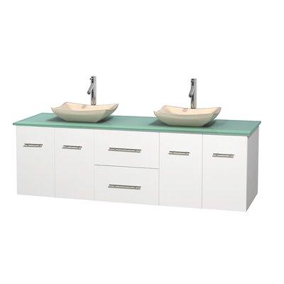 Centra 72 Double Bathroom Vanity Set Base Finish: Matte White, Basin Finish: Arista Ivory
