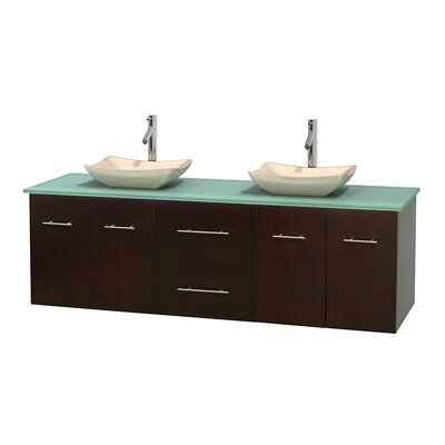Centra 72 Double Bathroom Vanity Set Base Finish: Espresso, Basin Finish: Arista Ivory