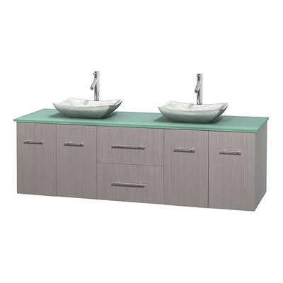Centra 72 Double Bathroom Vanity Set Base Finish: Gray Oak, Basin Finish: Arista White Carrera