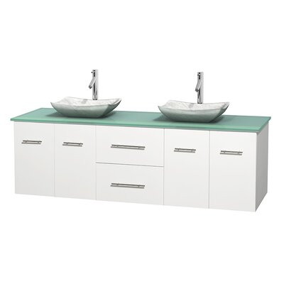 Centra 72 Double Bathroom Vanity Set Basin Finish: Arista White Carrera, Base Finish: Matte White