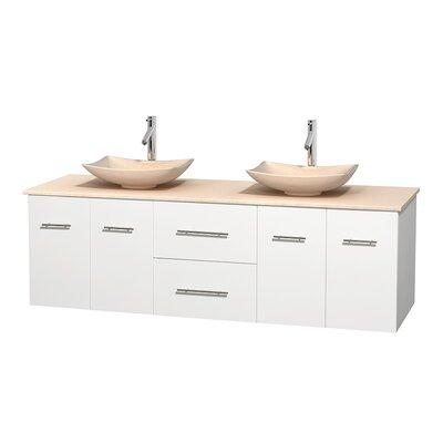 Centra 72 Double Bathroom Vanity Base Finish: Matte White, Top Finish: Ivory, Basin Finish: Ivory Marble