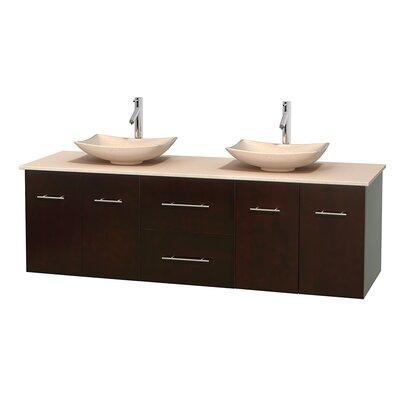 Centra 72 Double Bathroom Vanity Base Finish: Espresso, Top Finish: Ivory, Basin Finish: Ivory Marble