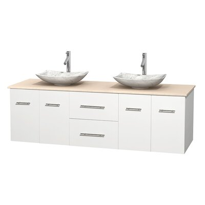 Centra 72 Double Bathroom Vanity Base Finish: Matte White, Top Finish: Ivory, Basin Finish: White Carrera Marble