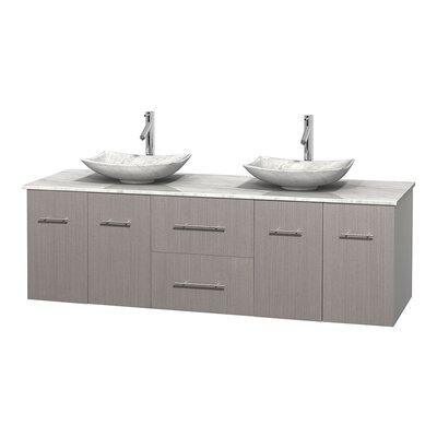 Centra 72 Double Bathroom Vanity Basin Finish: White Carrera Marble, Base Finish: Gray Oak, Top Finish: Ivory
