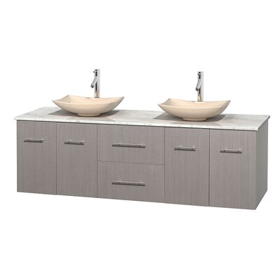 Centra 72 Double Bathroom Vanity Base Finish: Gray Oak, Top Finish: White Carrera, Basin Finish: White Carrera Marble
