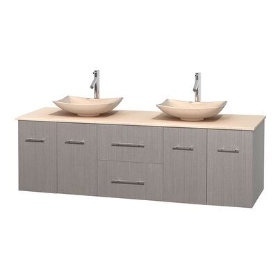 Centra 72 Double Bathroom Vanity Basin Finish: Ivory Marble, Base Finish: Gray Oak, Top Finish: Ivory