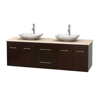 Centra 72 Double Bathroom Vanity Base Finish: Espresso, Top Finish: Ivory, Basin Finish: White Carrera Marble