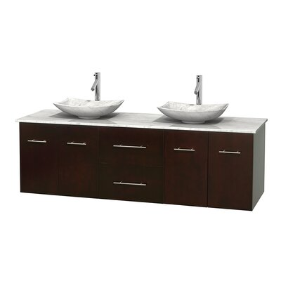 Centra 72 Double Bathroom Vanity Top Finish: White Carrera, Basin Finish: Ivory Marble, Base Finish: Gray Oak