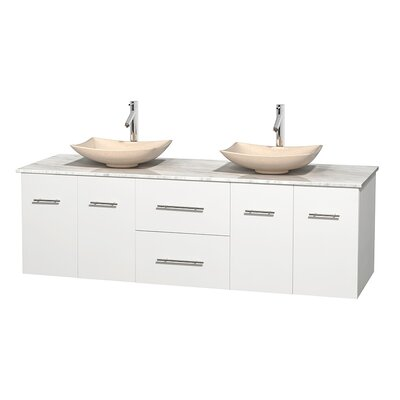 Centra 72 Double Bathroom Vanity Base Finish: Matte White, Top Finish: White Carrera, Basin Finish: Ivory Marble
