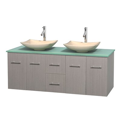 Centra 60 Double Bathroom Vanity Set Basin Finish: Arista Ivory, Base Finish: Gray Oak