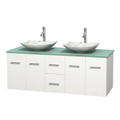 Centra 60 Double Bathroom Vanity Set Base Finish: Matte White, Basin Finish: Arista White Carrera