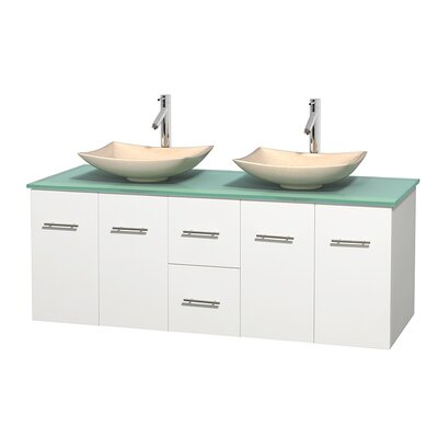 Centra 60 Double Bathroom Vanity Set Basin Finish: Arista Ivory, Base Finish: Matte White