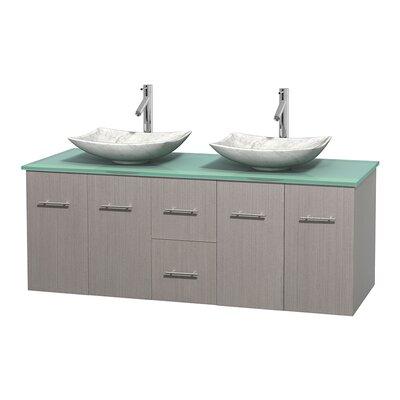 Centra 60 Double Bathroom Vanity Set Base Finish: Gray Oak, Basin Finish: Arista White Carrera