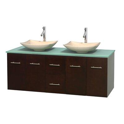 Centra 60 Double Bathroom Vanity Set Base Finish: Espresso, Basin Finish: Arista Ivory