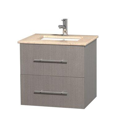 Centra 24 Single Bathroom Vanity Set Base Finish: Gray Oak, Top Finish: Ivory