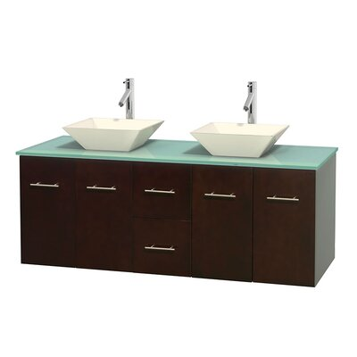 Centra 60 Double Bathroom Vanity Set Basin Finish: Pyra Bone, Base Finish: Espresso