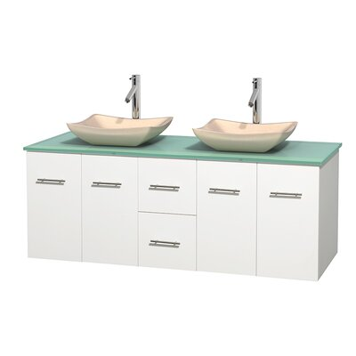 Centra 60 Double Bathroom Vanity Set Base Finish: Matte White, Basin Finish: Avalon Ivory