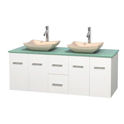 Centra 60 Double Bathroom Vanity Set Base Finish: Matte White, Basin Finish: Avalon Ivory