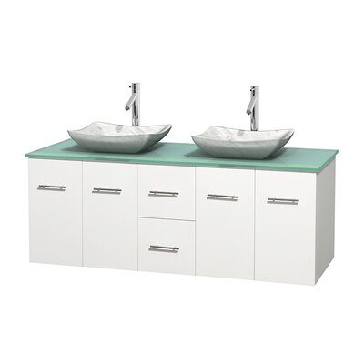 Centra 60 Double Bathroom Vanity Set Base Finish: Matte White, Basin Finish: Avalon White Carrera