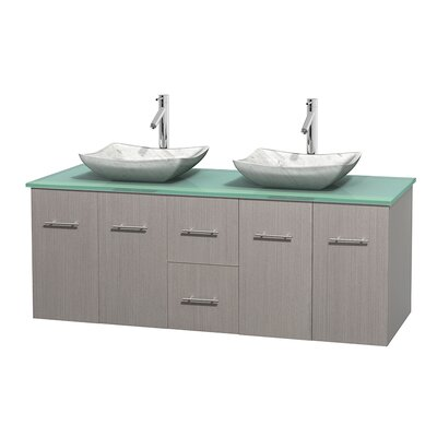 Centra 60 Double Bathroom Vanity Set Base Finish: Gray Oak, Basin Finish: Avalon White Carrera