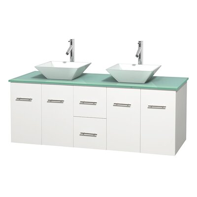 Centra 60 Double Bathroom Vanity Set Base Finish: Matte White, Basin Finish: Pyra White