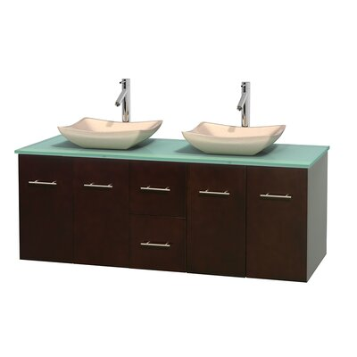 Centra 60 Double Bathroom Vanity Set Basin Finish: Avalon Ivory, Base Finish: Espresso
