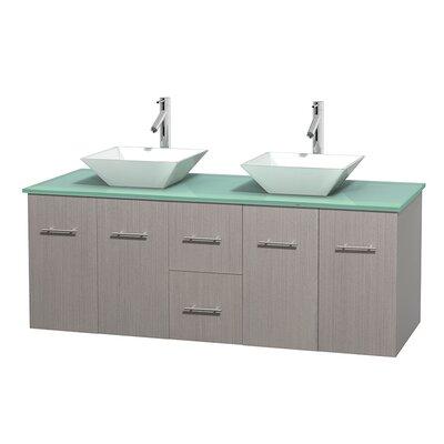 Centra 60 Double Bathroom Vanity Set Base Finish: Gray Oak, Basin Finish: Pyra White