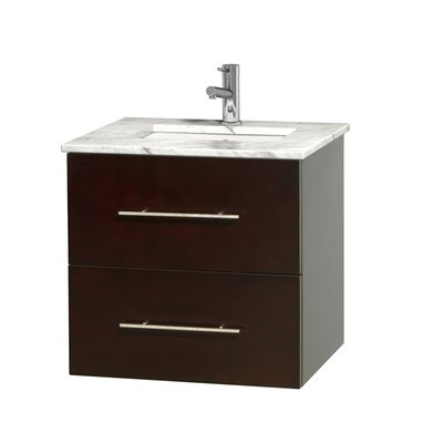 Centra 24 Single Bathroom Vanity Set Base Finish: Espresso, Top Finish: White Carrera