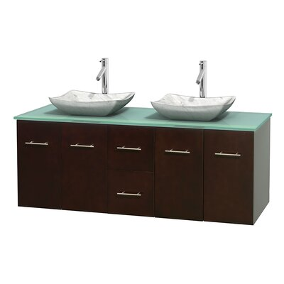 Centra 60 Double Bathroom Vanity Set Base Finish: Espresso, Basin Finish: Avalon White Carrera