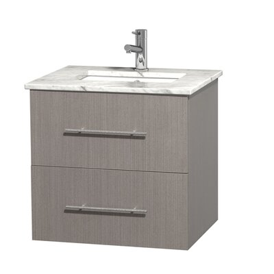 Centra 24 Single Bathroom Vanity Set Base Finish: Gray Oak, Top Finish: White Carrera