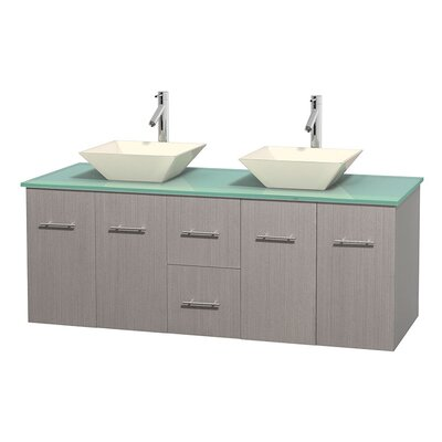 Centra 60 Double Bathroom Vanity Set Base Finish: Gray Oak, Basin Finish: Pyra Bone
