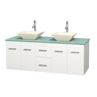 Centra 60 Double Bathroom Vanity Set Base Finish: Matte White, Basin Finish: Pyra Bone