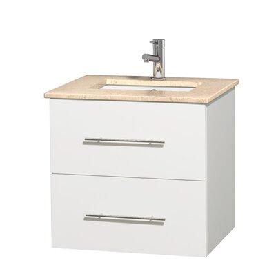 Centra 24 Single Bathroom Vanity Set Base Finish: Matte White, Top Finish: Ivory