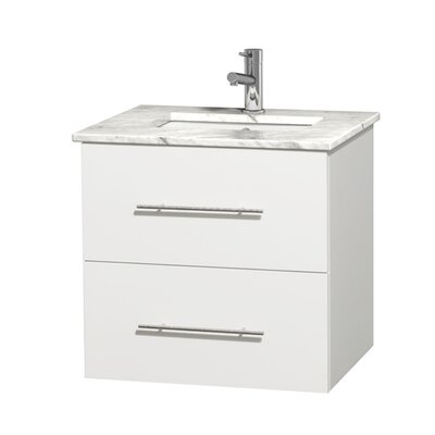 Centra 24 Single Bathroom Vanity Set Base Finish: Matte White, Top Finish: White Carrera