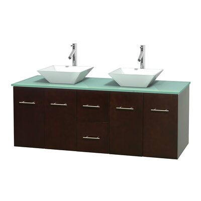Centra 60 Double Bathroom Vanity Set Base Finish: Espresso, Basin Finish: Pyra White
