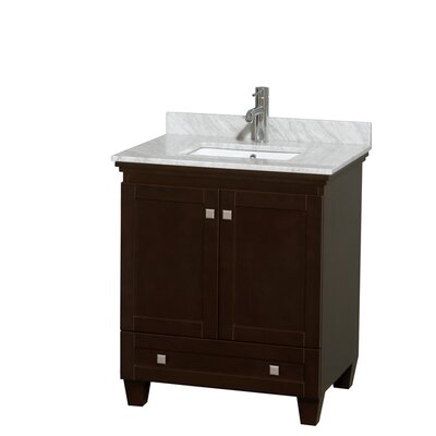 Acclaim 30 Single Bathroom Vanity Set Top Finish: White Carrera, Base Finish: White