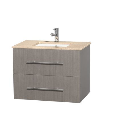 Centra 30 Single Bathroom Vanity Set Base Finish: Gray Oak, Top Finish: White Carrera