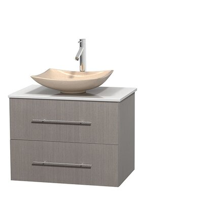 Centra 30 Single Bathroom Vanity Set Sink Finish: Arista White Carrera, Base Finish: Matte White