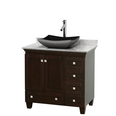 Acclaim 36 Single Bathroom Vanity Set Base Finish: Espresso, Top Finish: White Carrera
