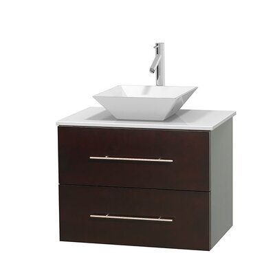 Centra 30 Single Bathroom Vanity Set Basin Finish: Pyra Bone, Base Finish: Matte White