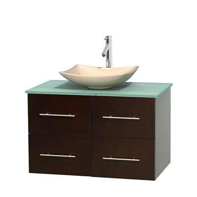 Centra 36 Single Bathroom Vanity Set Base Finish: Espresso, Basin Finish: Arista White Carrera