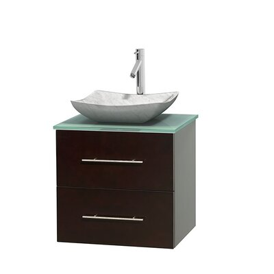Centra 24 Single Bathroom Vanity Set Base Finish: Espresso, Basin Finish: Avalon White Carrera