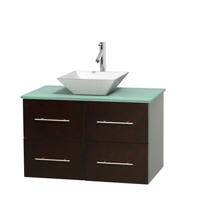 Centra 36 Single Bathroom Vanity Set Basin Finish: Pyra White, Base Finish: Espresso