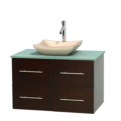 Centra 36 Single Bathroom Vanity Set Base Finish: Gray Oak, Basin Finish: Avalon White Carrera