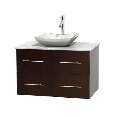 Centra 36 Single Bathroom Vanity Set Base Finish: Gray Oak, Top Finish: Ivory, Basin Finish: Ivory Marble