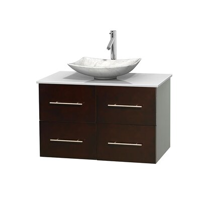 Centra 36 Single Bathroom Vanity Set Base Finish: Matte White, Basin Finish: Arista Ivory