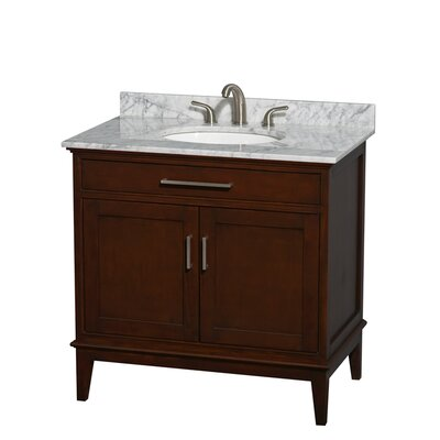 Hatton 36 Single Bathroom Vanity Set Base Finish: Light Chestnut, Top Finish: White Carrera